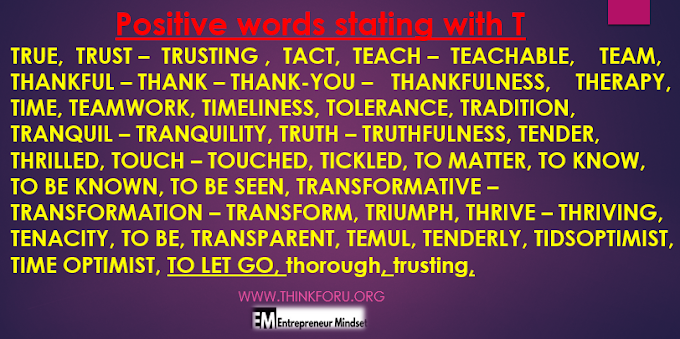 positive words start with t