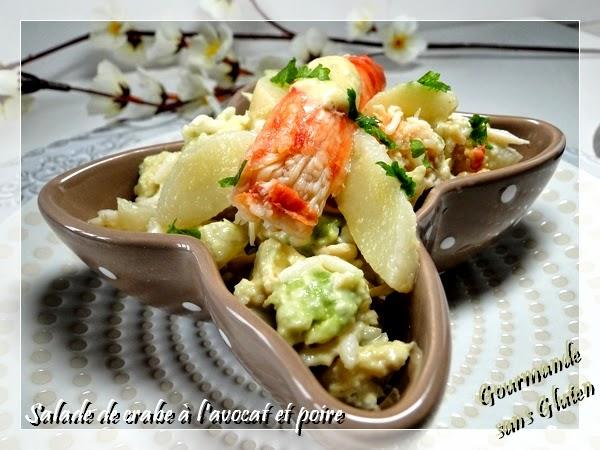 Salade de crabe à l'avocat et à la poire