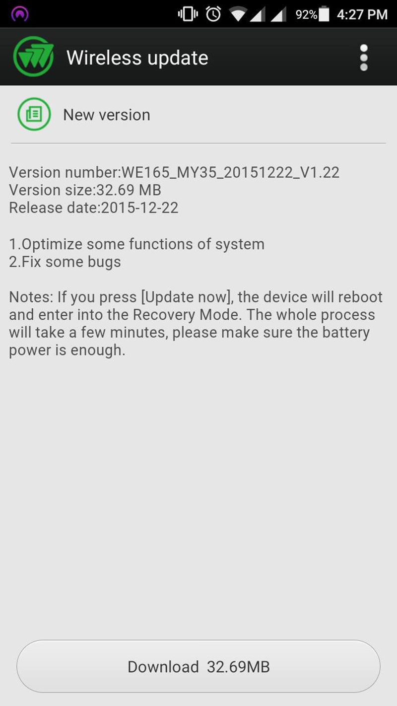 MyPhone My35 wireless update screenshot