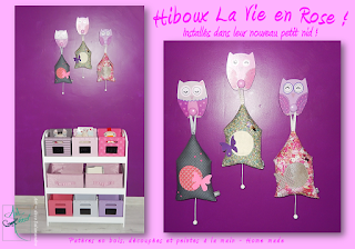 patères en bois, hiboux, home sweet home creation artisanale rose mauve art-deco salamandre originale