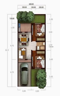 30 Denah Rumah Minimalis Tipe 36  - 1 Lantai