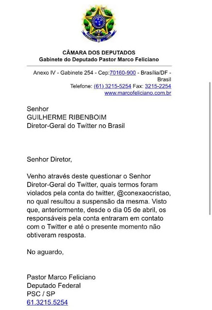 Carta do deputado Marco Feliciano ao Twitter