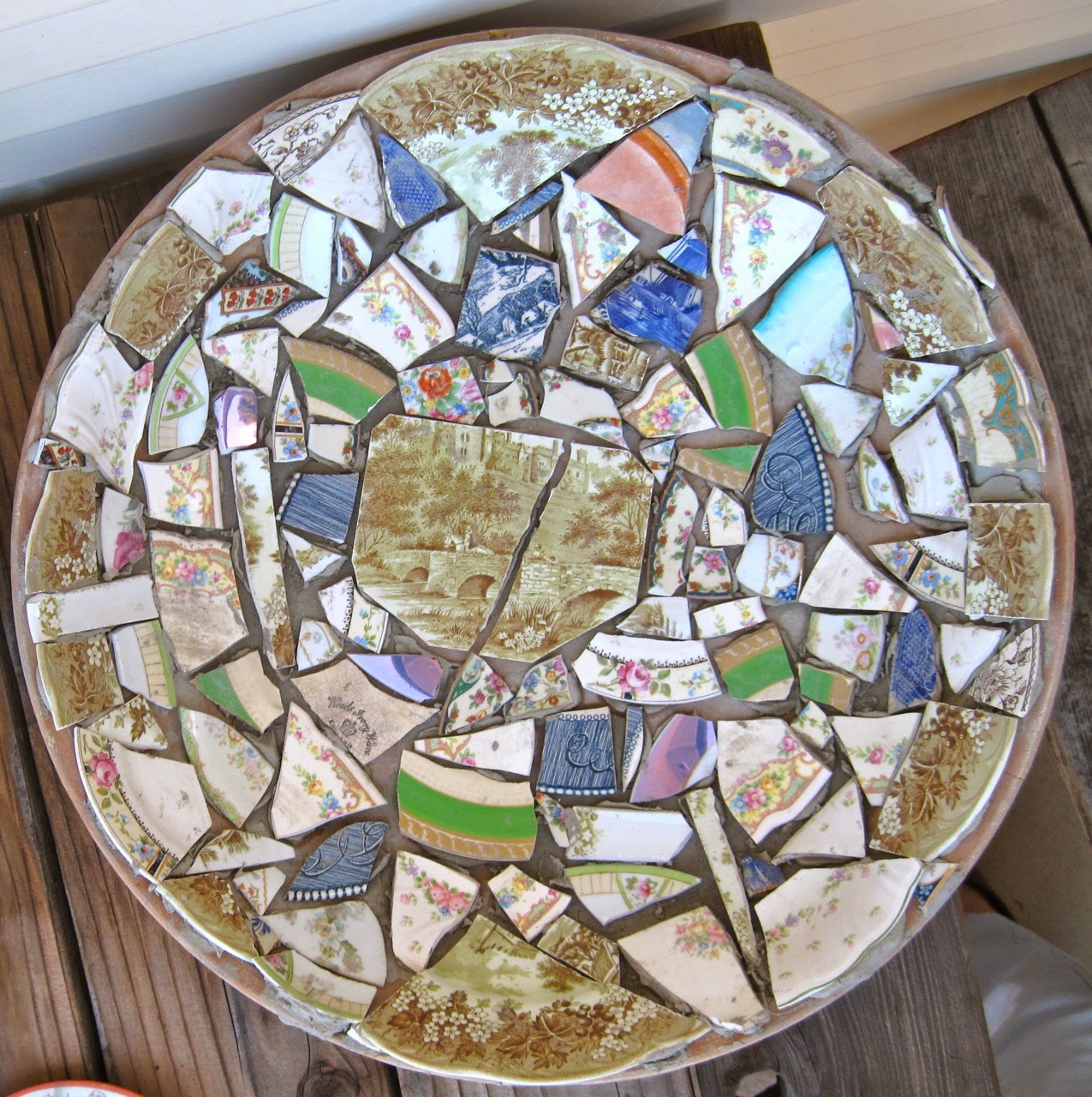 Here Is My First Broken Plate Mosaic Ready For The Thinset