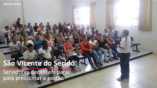 Servidores públicos de São Vicente do Seridó paralisam atividades nesta sexta (17)