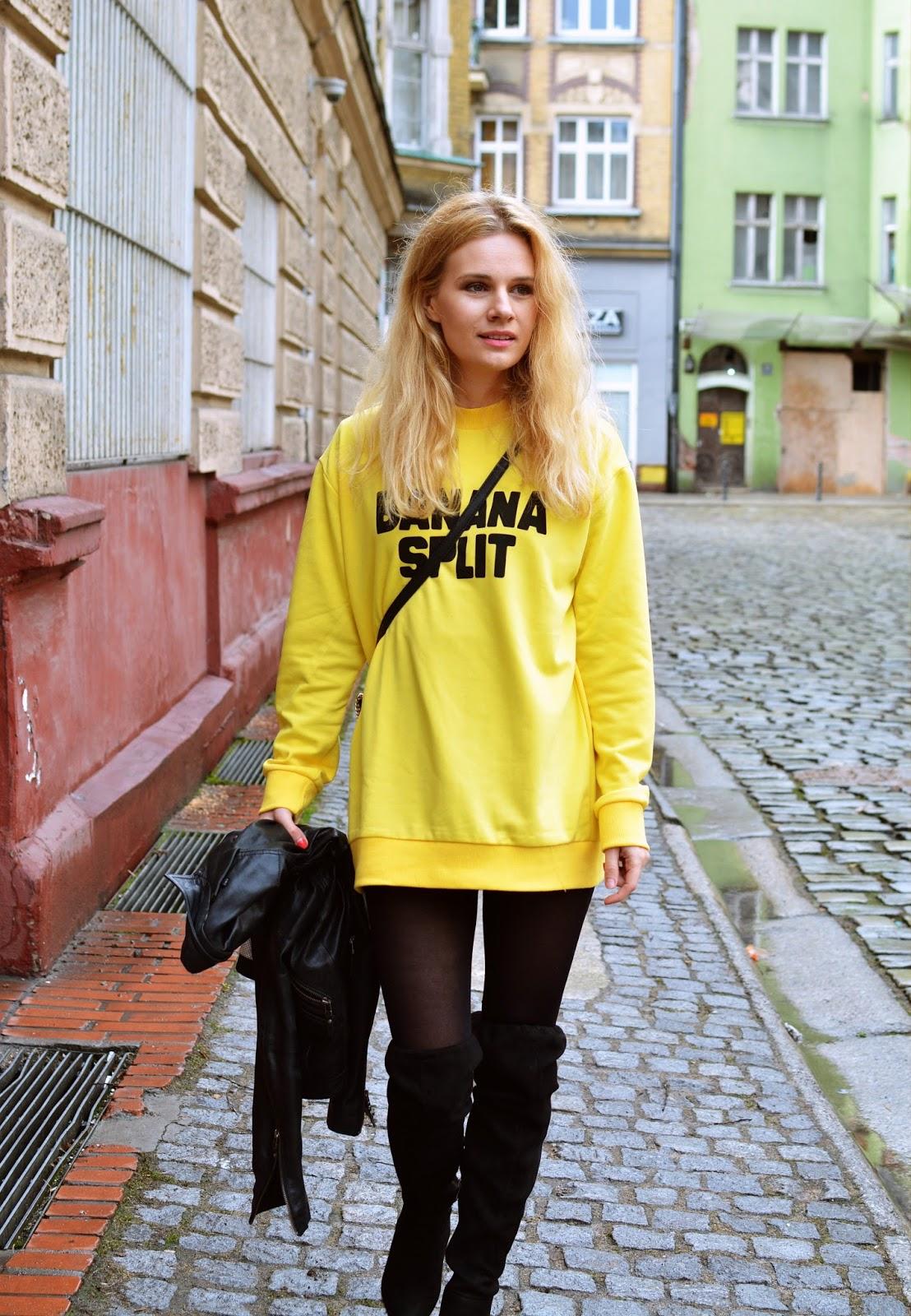zółty stylizacja blog blogspot poznań wiosna banana split