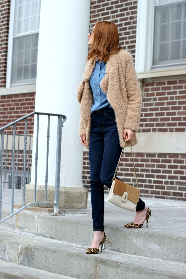 denim on denim, 70's vintage vibes, faux fur, neutral meets denim