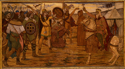 James Ward - Mural of Brian Boru Addressing Troops Before the Battle of Clontarf in 1014 - Location: Dublin City Hall - Source: https://dh.tcd.ie/clontarf/Before%20the%20Battle%3A%20James%20Ward%27s%20Mural%20