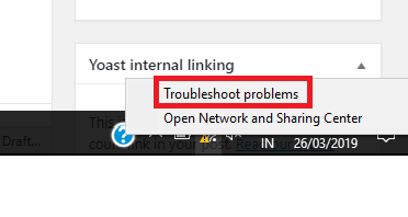 network icon Troubleshoot problems