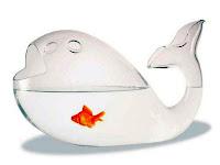 İçinde turuncu küçük bir balık olan balık şekilli cam fanus