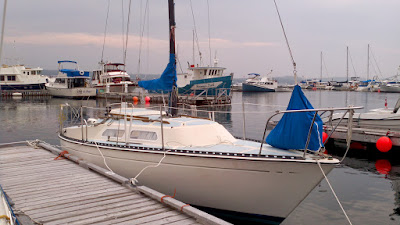 Serenity with a reefing jib in a deck bag.