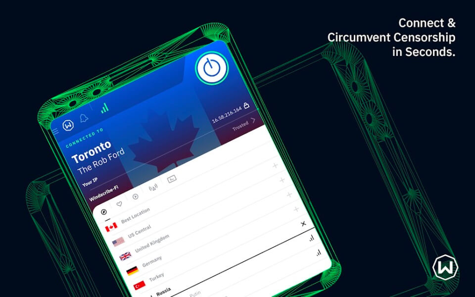 Windscribe VPN - Aplikasi VPN Terbaik Android