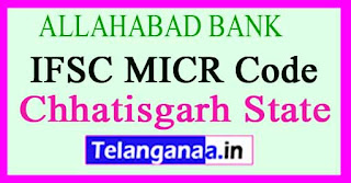 ALLAHABAD BANK IFSC MICR Code Chhatisgarh State