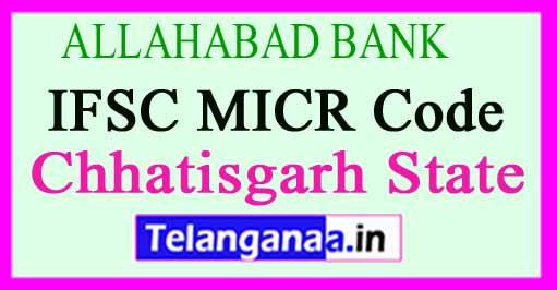 ALLAHABAD BANK IFSC MICR Code Chhatisgarh State