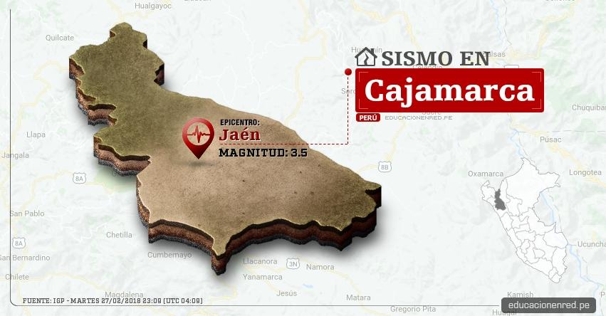 Temblor en Cajamarca de magnitud 3.5 (Hoy Martes 27 Febrero 2018) Sismo EPICENTRO Jaén - Cutervo - San Ignacio - Chota - Celendín - Cajabamba - IGP - www.igp.gob.pe