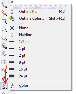outline tool pada toolbox coreDraw