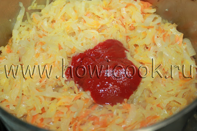 рецепт тушеной капусты с сосисками с пошаговыми фото