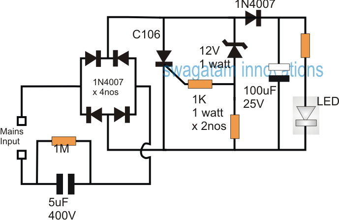 capacitive transformerless or capacitor power supply