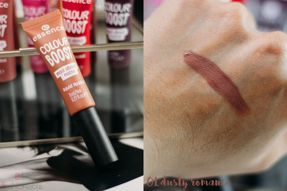 essence colour boost mad about matte liquid lipstick 01 dusty romance inkl Swatch