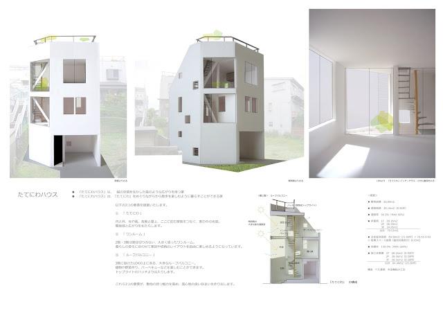 「たてにわ」が息吹を吹き込む木造三階建・狭小都市型住宅 外観・内観イメージ
