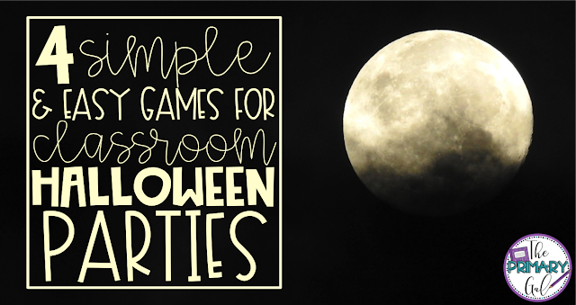 The week of Halloween can bring the craziness to your classroom, whether your ready or not! These 4 ideas will assist in you in having a fun week/party while still encouraging your students to do some educational activities. Most are low prep while maximizing interaction! Don't forget to grab the freebie or download the printable games from Tpt! Hopefully with a little luck and these ideas, you'll survive the week! {Halloween, upper elementary, freebie, printable}