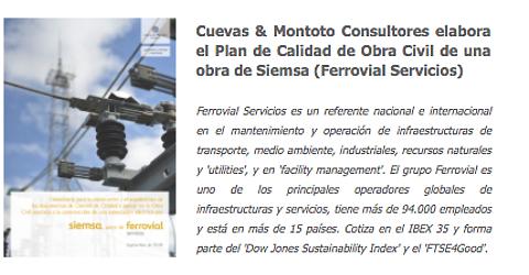 Trabajo por el que Cuevas y Montoto Consultores asistirá a Siemsa (Ferrovial Servicios) en la elaboración y seguimiento del Plan de Ensayos de Obra Civil del proyecto de construcción de una Subestación Eléctrica situada en la localidad de Mula (Murcia).