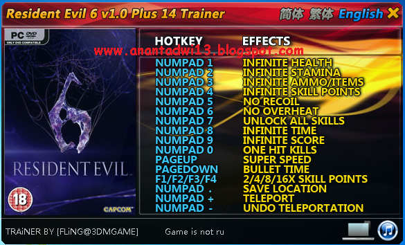 Cheat Resident Evil 6 (Trainer +14)