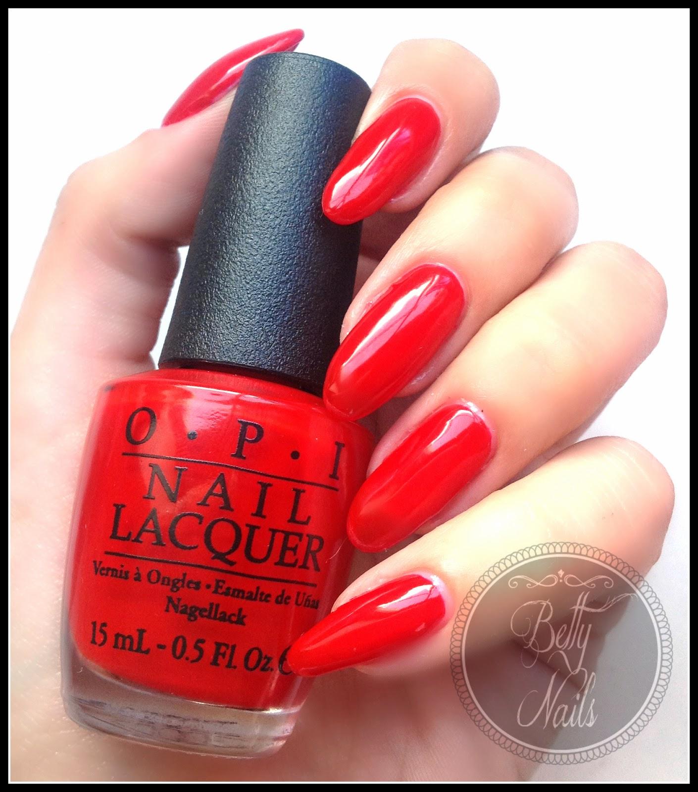 betty nails opi red hot rio