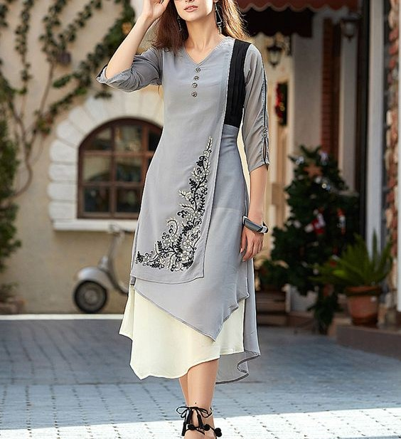 western kurti design, women's fashion, ladies kurti, formal wear for girls, kurtiyan,