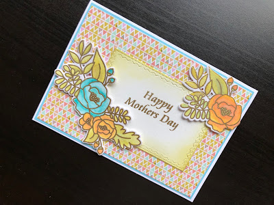 Hand made mothers day card with stamped, inked and die cut flowers