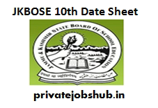 JKBOSE 10th Date Sheet