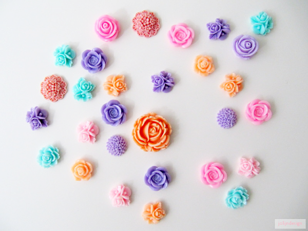 Pastel Coloured Flower Cabochons