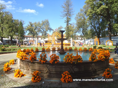 Marigolds adorned the various fountains in Patzcuaro during Day of the Dead