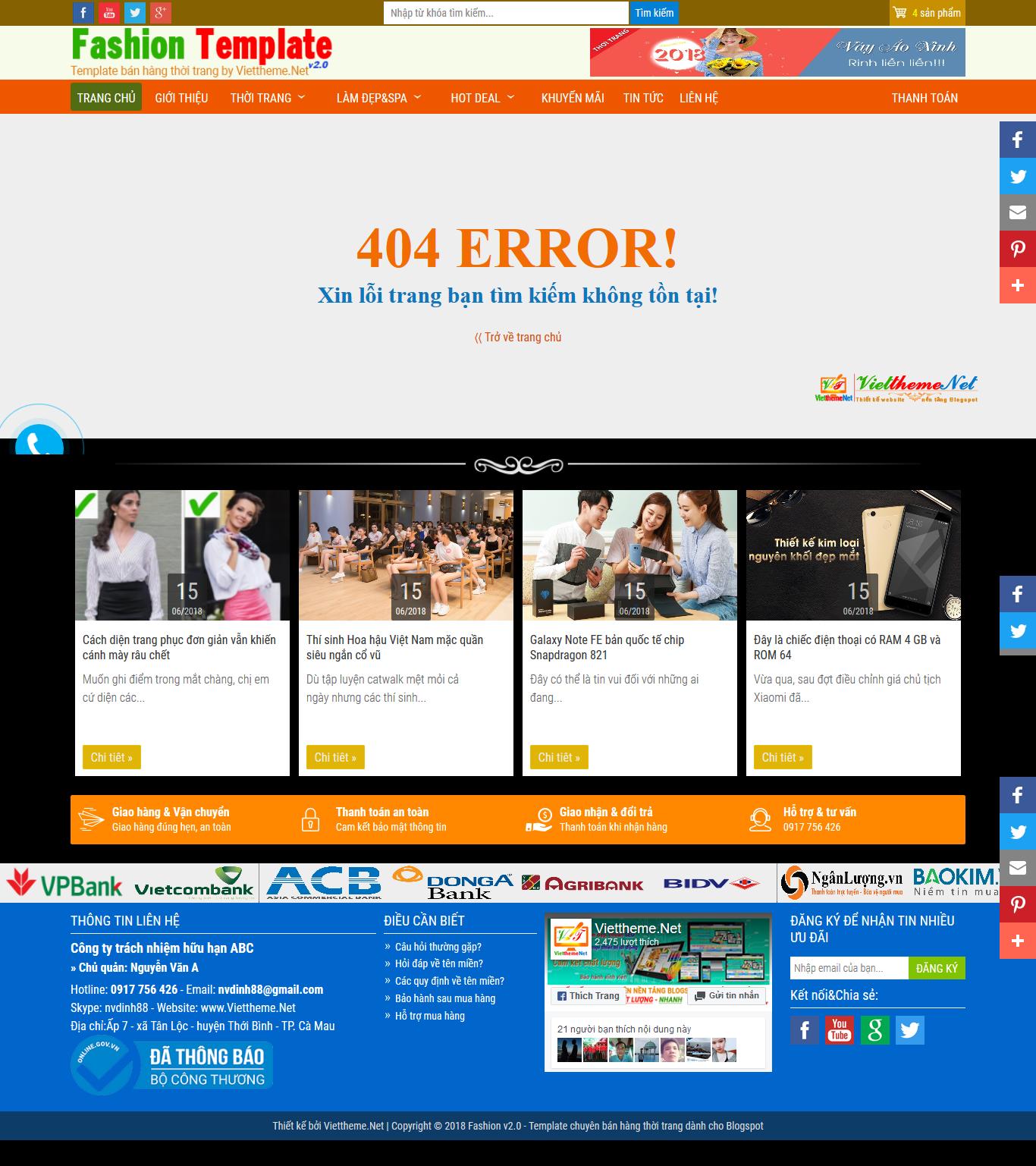 Giao diện thông báo khi người dùng truy cập link không đúng Error 404