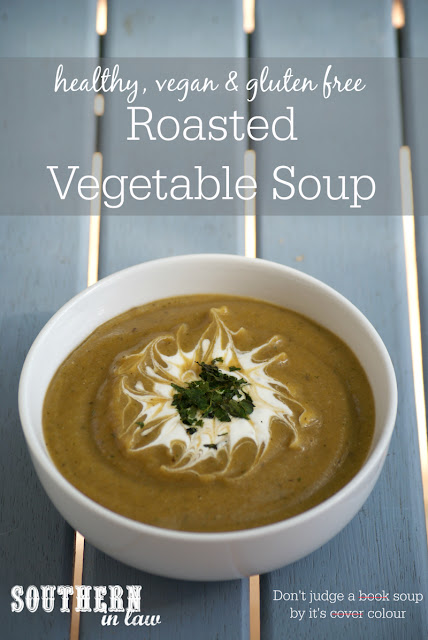 Vegan Roasted Vegetable Soup Recipe | low fat, gluten free, vegan, clean eating friendly, egg free, sugar free, low carb, healthy