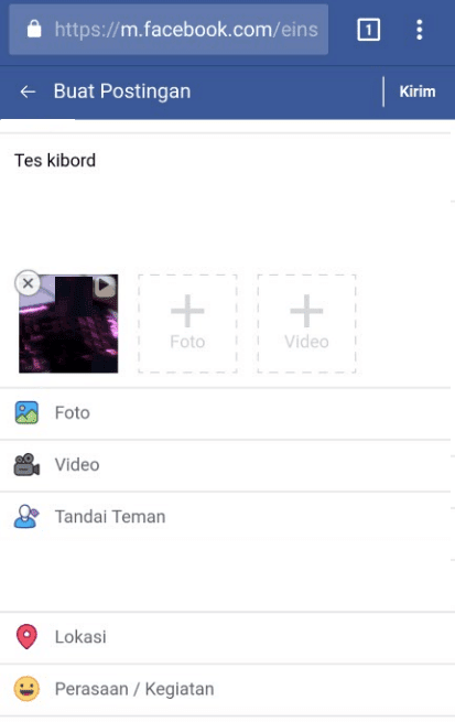 Video upload Google Chrome ke FB