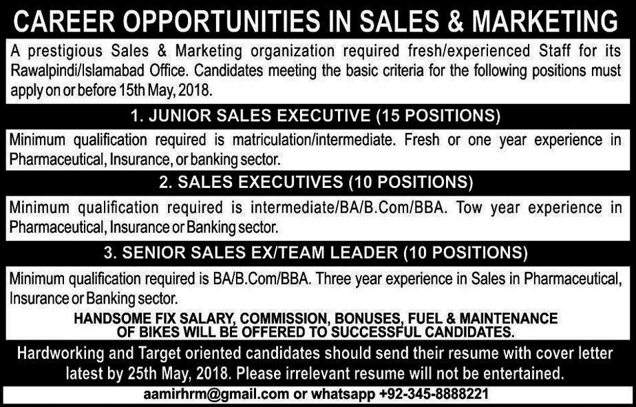 Jobs in Sales and Marketing Organization Rawalpindi 2018