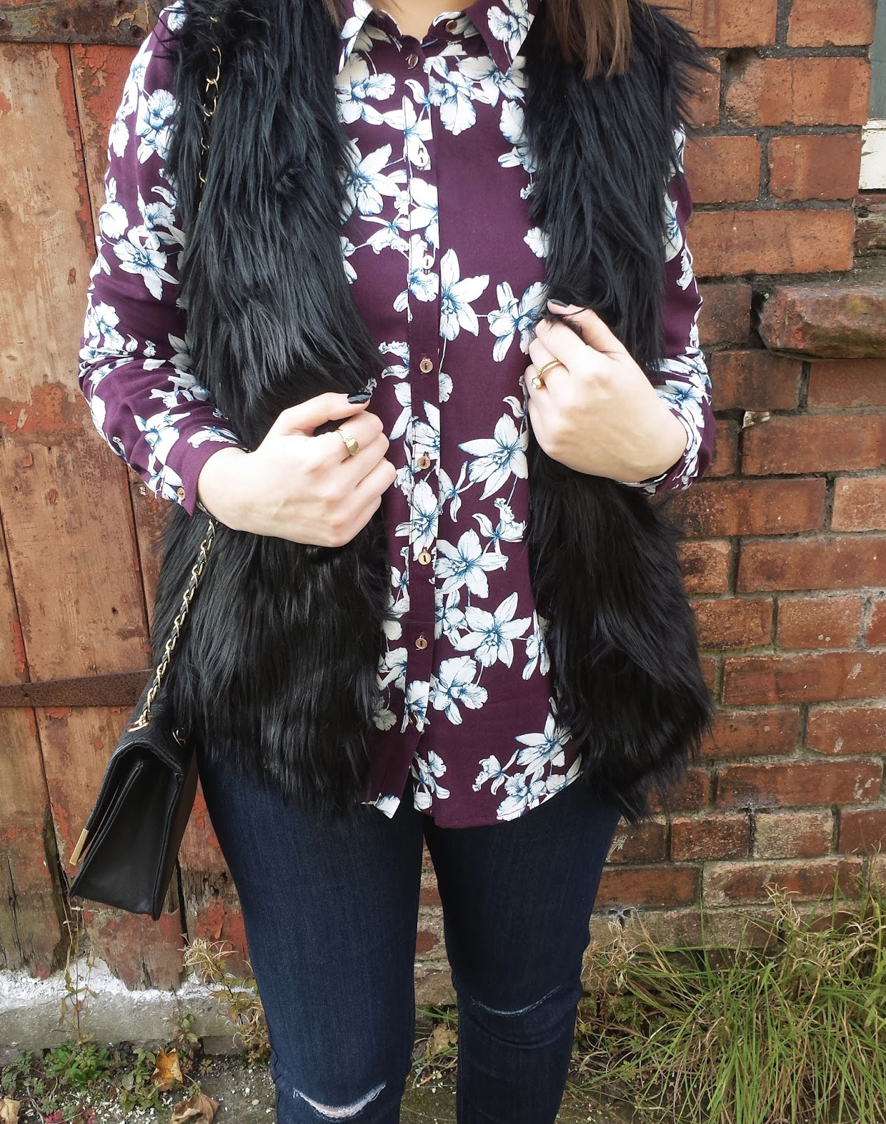 Black Faux Fur Gilet George Asda
