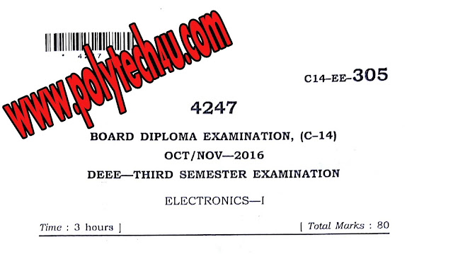 DEEE C-14 ELECTRONICS - 1 PREVIOUS YEAR QUESTION PAPER OCT-NOV-2016