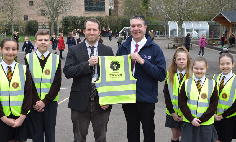 Yeovil Trinity School Head Teacher Adam Beauford and Garador Production Manager Martin Best