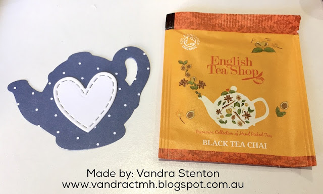 #CTMHBeautifulFriendship, teapot, tea cups, tea, teabag, sponging, Sponges, Sponge daubers, blog hop, #CTMHVandra, Vandra, Beautiful Friendship, dots, papercrafting, papercraft, bows, thin cuts, hearts,