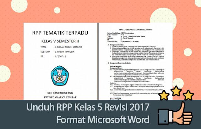 RPP Kelas 5 Revisi 2017