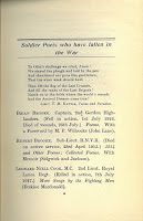 Initial page of For Remembrance that lists Rupert Brooke as one of the poets who died in the war.