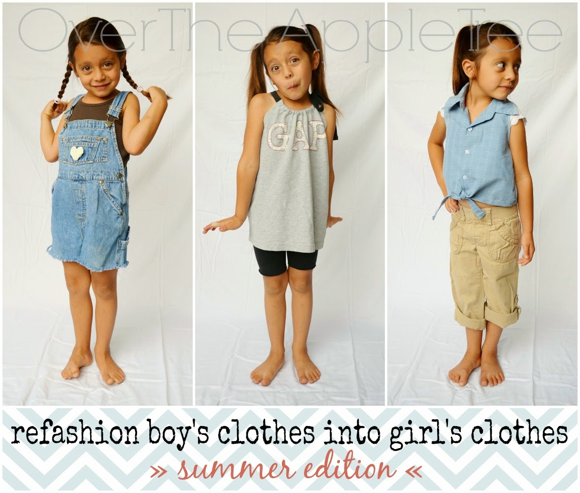 Upcycle boy's hand-me-downs into girl's clothes »Over The Apple Tree«