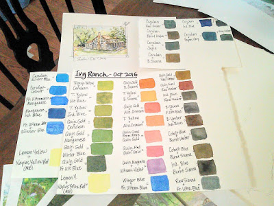 Watercolor mixing swatches and quick sketch for commissioned artwork.