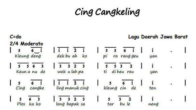 not angka lagu cing cangkeling