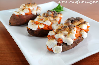 Twice Baked Maple and Cinnamon Yams with Mini Marshmallows