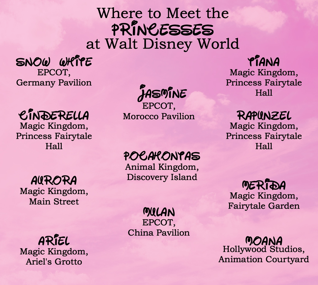 Disney darling where to meet the disney princesses here is a cheat sheet m4hsunfo