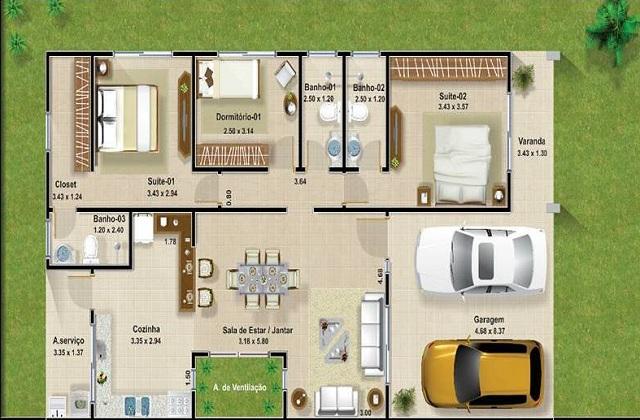 Plano de casa de 120 m2 planos de casas gratis y for Casa moderna 150 m2