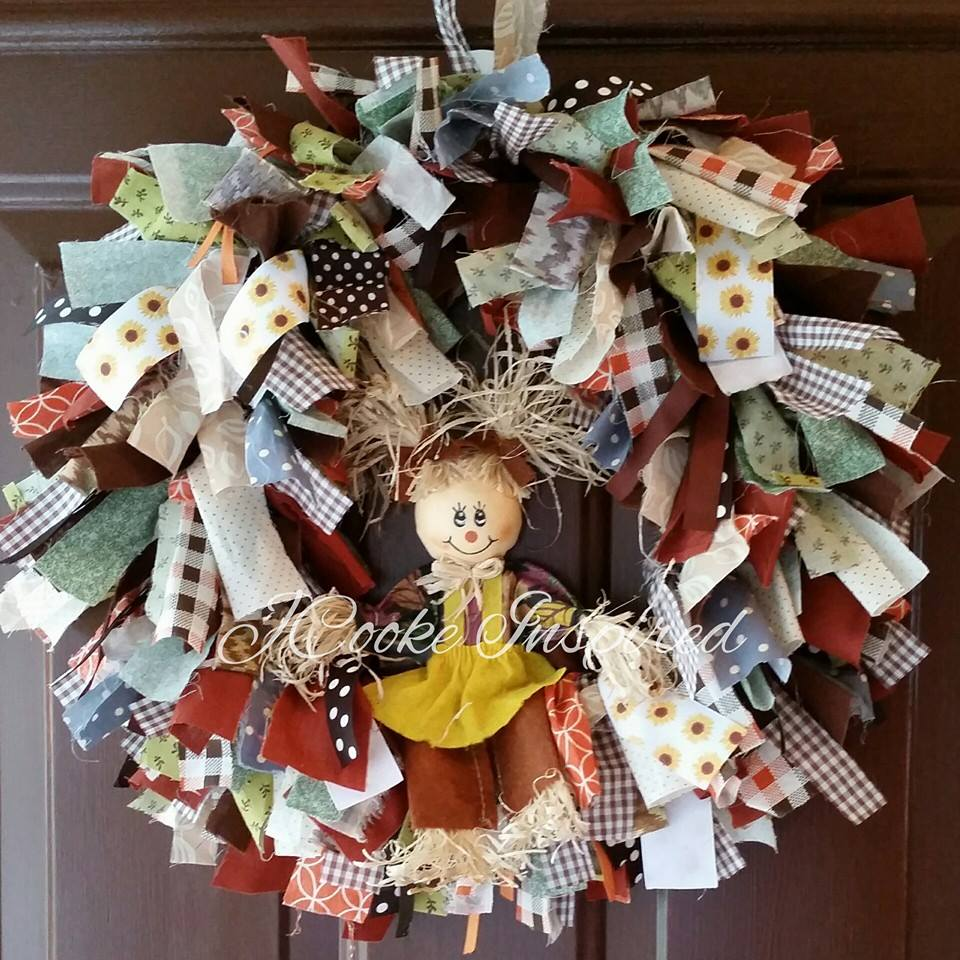 Blukatkraft Easy Diy Scrap Fabric Ribbon Wreath: JCooke.: Scrap Pieces Wreath