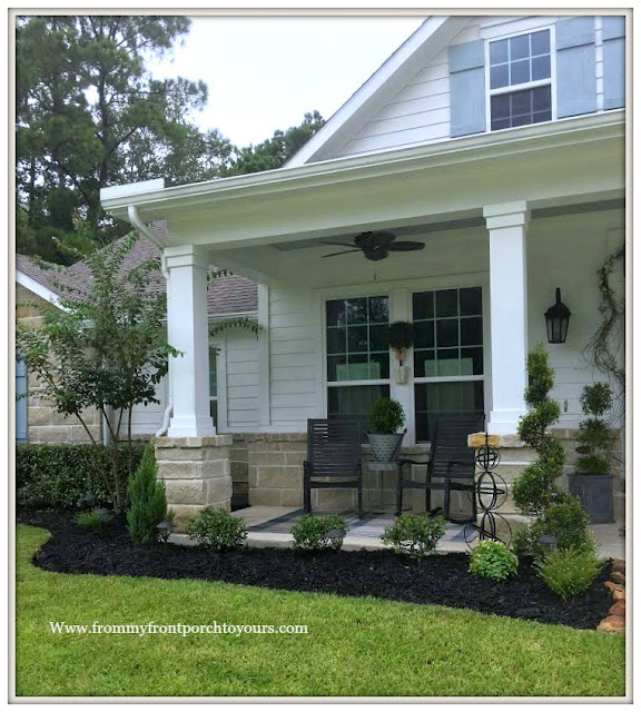 Flower Beds-Curb Appeal-Southern Charm-Rocking Chairs-Grandin Road-Sprial Shrub-DIY-Landscape-From My Front Porch To Yours